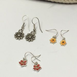 3 Pairs of Vintage to Now Flower Earrings